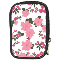 Vintage Floral Wallpaper Background In Shades Of Pink Compact Camera Cases by Simbadda