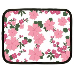 Vintage Floral Wallpaper Background In Shades Of Pink Netbook Case (xl)  by Simbadda
