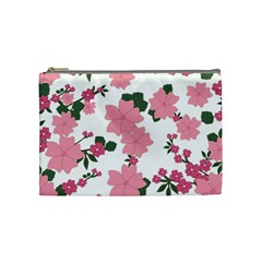 Vintage Floral Wallpaper Background In Shades Of Pink Cosmetic Bag (medium)  by Simbadda