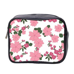 Vintage Floral Wallpaper Background In Shades Of Pink Mini Toiletries Bag 2 Side by Simbadda