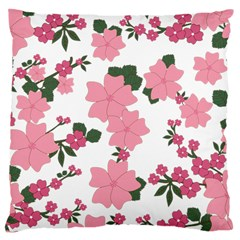 Vintage Floral Wallpaper Background In Shades Of Pink Large Cushion Case (one Side) by Simbadda