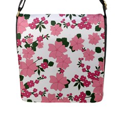 Vintage Floral Wallpaper Background In Shades Of Pink Flap Messenger Bag (l)