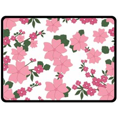 Vintage Floral Wallpaper Background In Shades Of Pink Double Sided Fleece Blanket (large)  by Simbadda