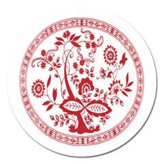 Red Vintage Floral Flowers Decorative Pattern Magnet 5  (round)