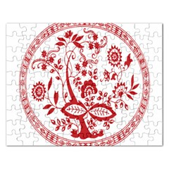 Red Vintage Floral Flowers Decorative Pattern Rectangular Jigsaw Puzzl by Simbadda