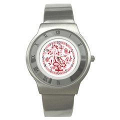 Red Vintage Floral Flowers Decorative Pattern Stainless Steel Watch
