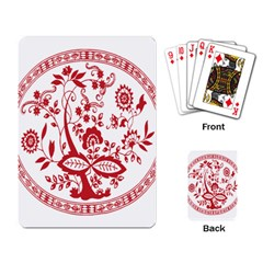 Red Vintage Floral Flowers Decorative Pattern Playing Card by Simbadda