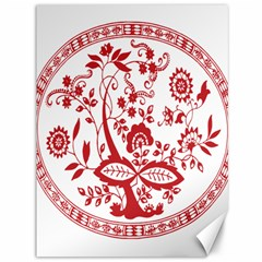 Red Vintage Floral Flowers Decorative Pattern Canvas 36  X 48   by Simbadda