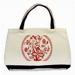Red Vintage Floral Flowers Decorative Pattern Basic Tote Bag (two Sides) by Simbadda