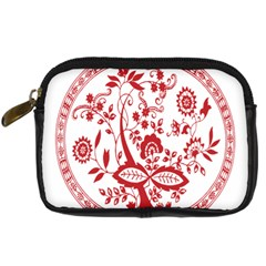 Red Vintage Floral Flowers Decorative Pattern Digital Camera Cases by Simbadda