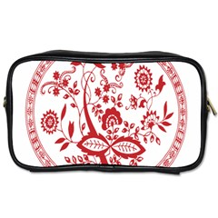 Red Vintage Floral Flowers Decorative Pattern Toiletries Bags by Simbadda