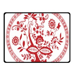 Red Vintage Floral Flowers Decorative Pattern Fleece Blanket (small) by Simbadda