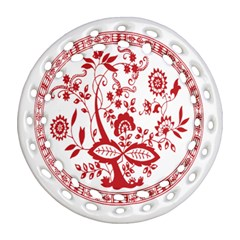 Red Vintage Floral Flowers Decorative Pattern Ornament (round Filigree)