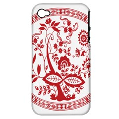 Red Vintage Floral Flowers Decorative Pattern Apple Iphone 4/4s Hardshell Case (pc+silicone) by Simbadda
