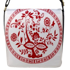 Red Vintage Floral Flowers Decorative Pattern Flap Messenger Bag (s) by Simbadda