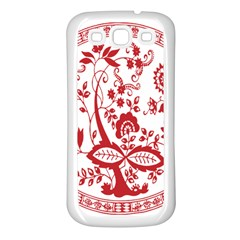 Red Vintage Floral Flowers Decorative Pattern Samsung Galaxy S3 Back Case (white)