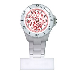 Red Vintage Floral Flowers Decorative Pattern Plastic Nurses Watch