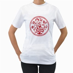 Red Vintage Floral Flowers Decorative Pattern Women s T Shirt (white)  by Simbadda