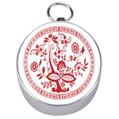Red Vintage Floral Flowers Decorative Pattern Silver Compasses by Simbadda