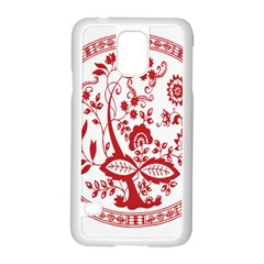 Red Vintage Floral Flowers Decorative Pattern Samsung Galaxy S5 Case (white) by Simbadda