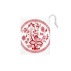 Red Vintage Floral Flowers Decorative Pattern Drawstring Pouches (xs)