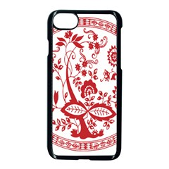 Red Vintage Floral Flowers Decorative Pattern Apple Iphone 7 Seamless Case (black) by Simbadda