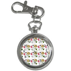 Handmade Pattern With Crazy Flowers Key Chain Watches by Simbadda