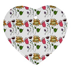 Handmade Pattern With Crazy Flowers Heart Ornament (two Sides) by Simbadda