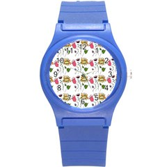 Handmade Pattern With Crazy Flowers Round Plastic Sport Watch (s) by Simbadda