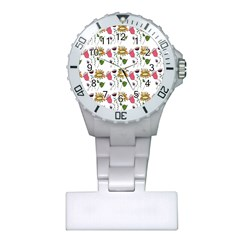 Handmade Pattern With Crazy Flowers Plastic Nurses Watch