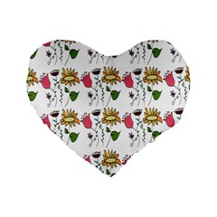 Handmade Pattern With Crazy Flowers Standard 16  Premium Flano Heart Shape Cushions by Simbadda
