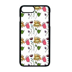 Handmade Pattern With Crazy Flowers Apple Iphone 7 Plus Seamless Case (black) by Simbadda
