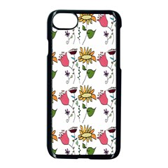 Handmade Pattern With Crazy Flowers Apple Iphone 7 Seamless Case (black) by Simbadda