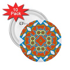 Digital Computer Graphic Geometric Kaleidoscope 2 25  Buttons (10 Pack)  by Simbadda