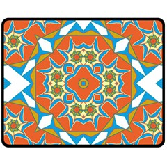 Digital Computer Graphic Geometric Kaleidoscope Fleece Blanket (medium)  by Simbadda