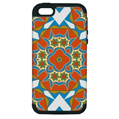 Digital Computer Graphic Geometric Kaleidoscope Apple Iphone 5 Hardshell Case (pc+silicone) by Simbadda