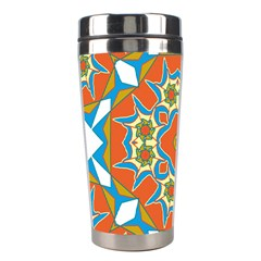 Digital Computer Graphic Geometric Kaleidoscope Stainless Steel Travel Tumblers by Simbadda