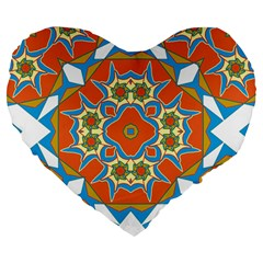 Digital Computer Graphic Geometric Kaleidoscope Large 19  Premium Flano Heart Shape Cushions by Simbadda