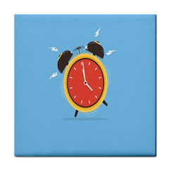 Alarm Clock Weker Time Red Blue Tile Coasters by Alisyart