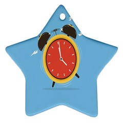 Alarm Clock Weker Time Red Blue Ornament (star) by Alisyart