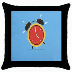 Alarm Clock Weker Time Red Blue Throw Pillow Case (black) by Alisyart