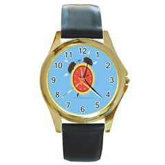 Alarm Clock Weker Time Red Blue Round Gold Metal Watch by Alisyart