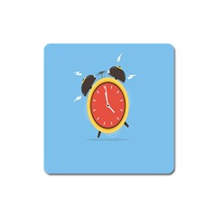 Alarm Clock Weker Time Red Blue Square Magnet by Alisyart