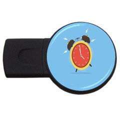 Alarm Clock Weker Time Red Blue Usb Flash Drive Round (4 Gb) by Alisyart