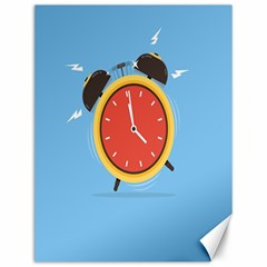 Alarm Clock Weker Time Red Blue Canvas 12  X 16   by Alisyart