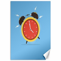 Alarm Clock Weker Time Red Blue Canvas 12  X 18   by Alisyart
