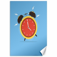 Alarm Clock Weker Time Red Blue Canvas 24  X 36  by Alisyart