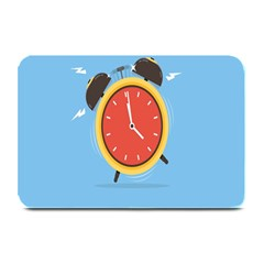 Alarm Clock Weker Time Red Blue Plate Mats