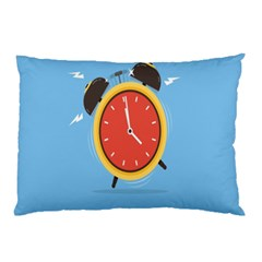 Alarm Clock Weker Time Red Blue Pillow Case by Alisyart