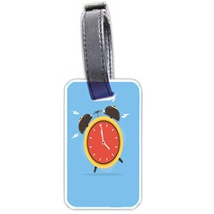 Alarm Clock Weker Time Red Blue Luggage Tags (one Side)  by Alisyart